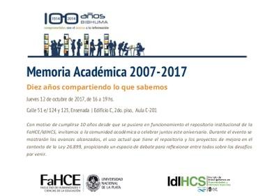 10 años memoria académica